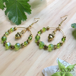 Dainty Acorn Charm Hoop Earrings with Faceted Czech Beads. Gift Box Included.