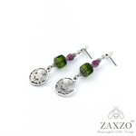 Scottish Thistle Charm Earrings with Cathedral Czech Beads. Hypoallergenic Platinum Ear Posts. Free Shipping.