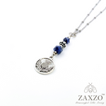 Scottish Thistle Charm Necklace w Sodalite Beads.