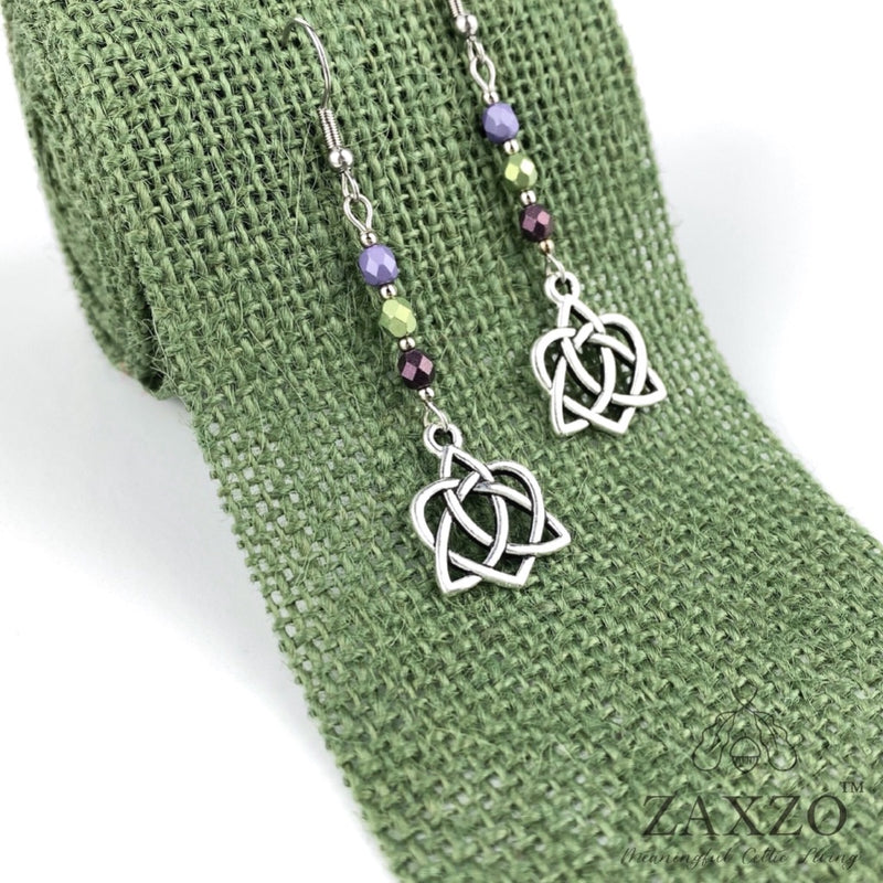 Celtic Sister Knot Earrings with Purple Czech Beads. Free Shipping.
