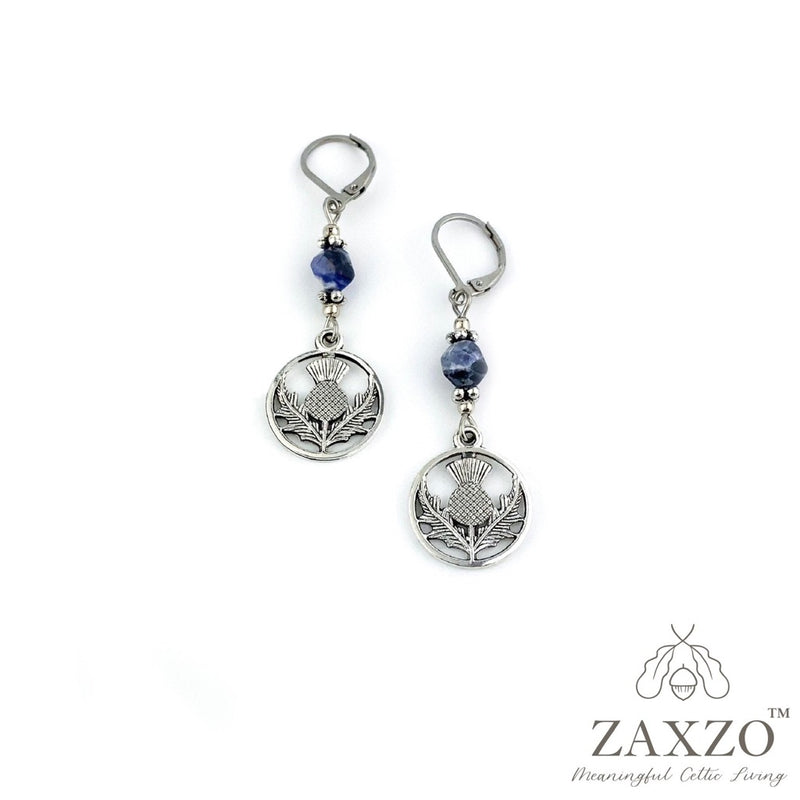 Thistle Charm Earrings with Faceted Sodalite Beads. Steel Lever Back Post Earrings. Gift Box included.