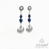 Scottish Thistle Charm Earrings with Faceted Sodalite Beads. Hypoallergenic Titanium Post Earrings. Gift Box included.