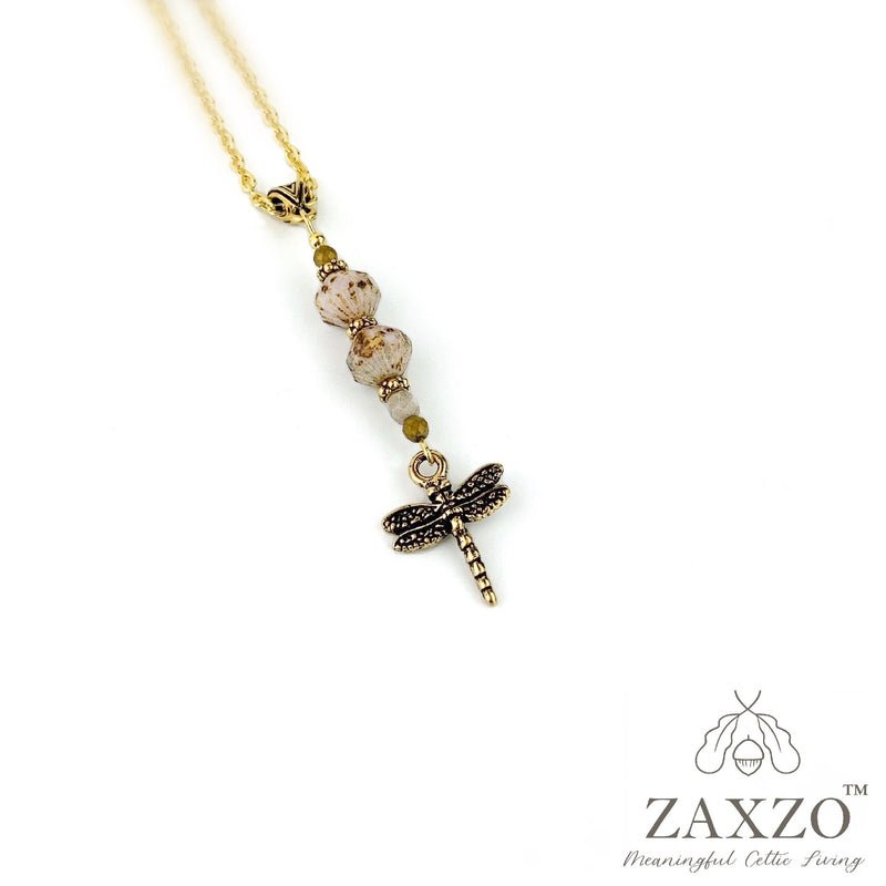 Celtic Dragonfly Necklace with Bead Accents on Chain. Gold dusted Faceted Czech Beads and gold charm. Gift Box included.