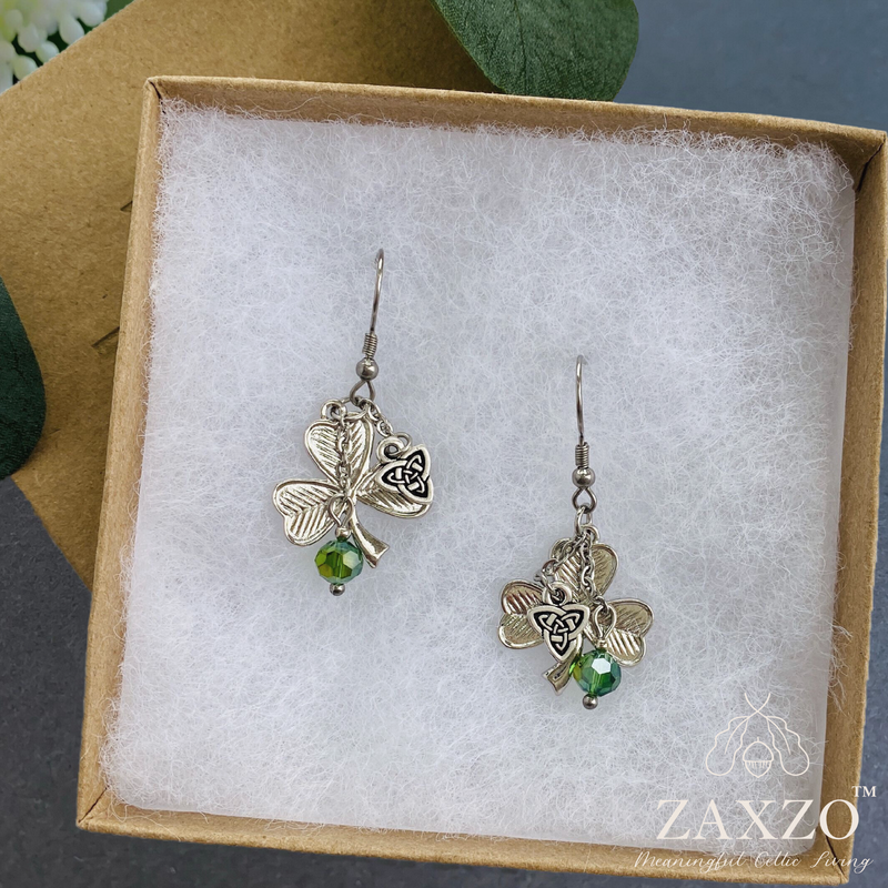 Shamrock Earrings with crystal and Trinity charm.