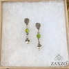Dainty Acorn Charm Earrings with Green Faceted Czech Beads. Gift Box Included.