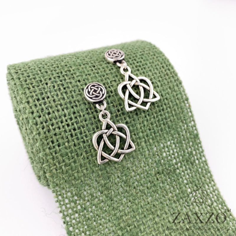 Celtic Sister Knot Earrings with Platinum Post. Free Shipping.
