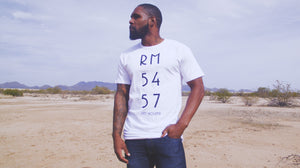 """5457"" Black & White Drop Tail Mens Tee"