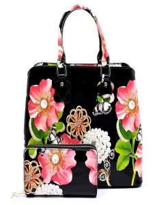 Flowers For Me - Black Handbag