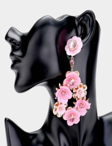 Pink Flower Bouquet Earrings