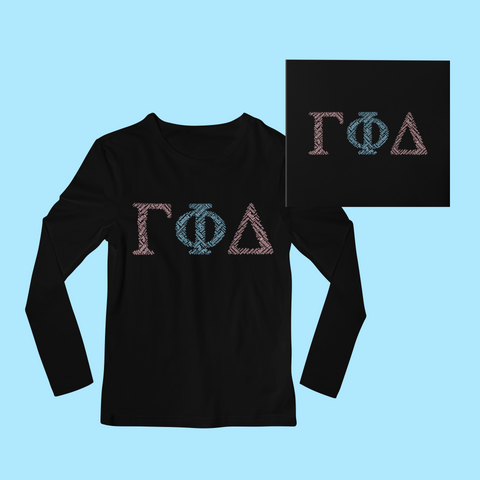 Gamma Phi Delta in Words Long Sleeve Shirt - Black