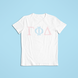 Gamma Phi Delta in Words Short Sleeve Shirt - White