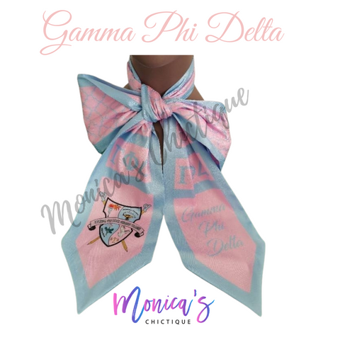 Gamma Phi Delta Neck Bow - Blue Trim (Pre-Order - Ships March 1st)