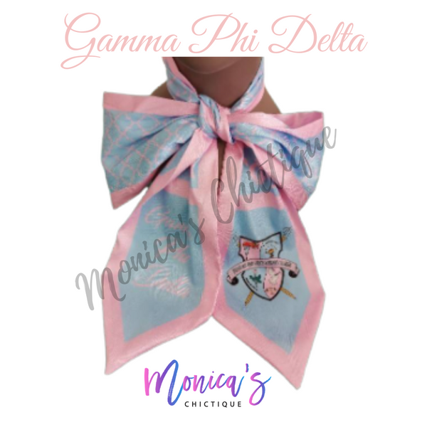 Gamma Phi Delta Neck Bow - Pink Trim (Pre-Order - Ships March 1st)