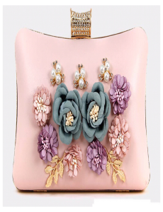 Flowers & Pearls Pink Clutch
