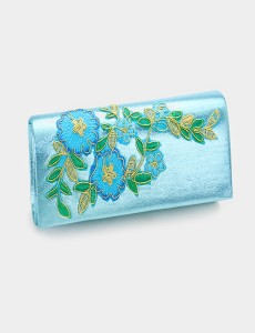 Turquoise with Embroidered Flowers Clutch