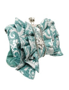 Snake & Bling Clutch - Teal Green