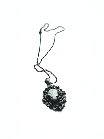 Tarnish Resistant Rhinestone Cameo Lady Pendant Necklace - R&M BOUTIQUE