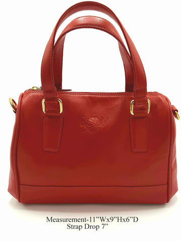 Red Genuine Leather Satchel Shoulder bag - R&M BOUTIQUE