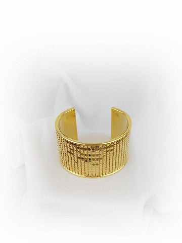 "Gold Tone Metal Bangle Cuff 1 5/8"" wide Bracelet Texture Pattern - R&M BOUTIQUE"