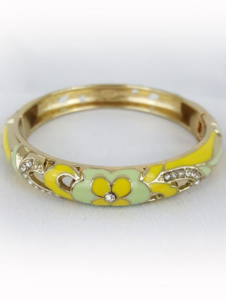 Ladies Crystal Classic Creme Gold Yellow Flower Enamel Hinged Cuff Bracelet - R&M BOUTIQUE