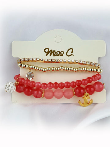 Crystal Beads Casual 4 set With Drop Anchor Bracelet - R&M BOUTIQUE