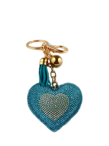 Fancy Women Crystal Rhinestone Pendant Heart Shape Key chain Ring - R&M BOUTIQUE