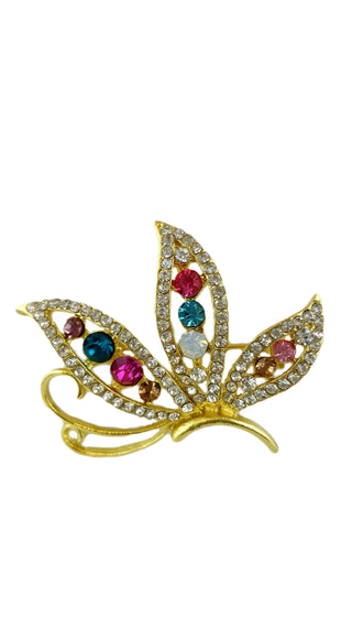 Vintage Pin Brooch Multi Color Rhinestone Crystal - R&M BOUTIQUE