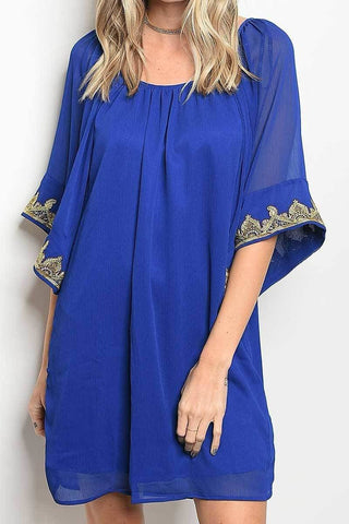 Embroider Lined Loose Fit Dress - R&M BOUTIQUE