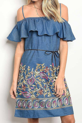 OFF THE SHOULDER EMBROIDERED DRESS - R&M BOUTIQUE