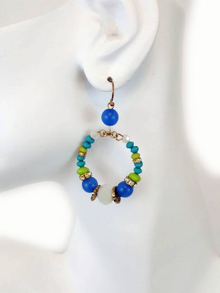 Blue-green bead hoops earrings - R&M BOUTIQUE