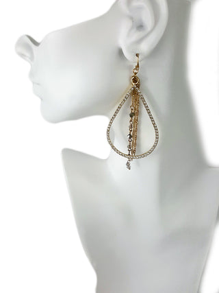 INC Gold Tone Earrings With Layers of Pave Crystals - R&M BOUTIQUE