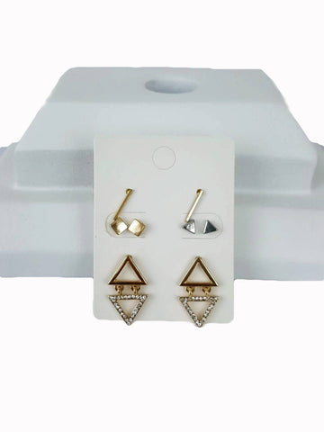 Macy's Metallic Two Tone Geometric 4 Piece Stud Earring - R&M BOUTIQUE