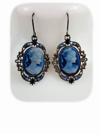 Rhodium Plated Tarnish Resistant Rhinestone Blue Cameo Lady Pendant Drop Earrings - R&M BOUTIQUE