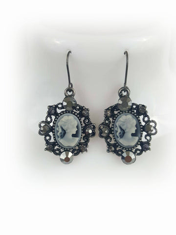 Rhodium Plated Gray Cameo Lady Pendant Drop Earrings - R&M BOUTIQUE