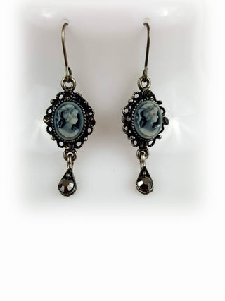 Tarnish Resistant Gray Cameo Lady Pendant Drop Earrings - R&M BOUTIQUE