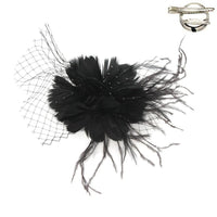 FEATHER FLOWER W/NETTING HAIR/PIN - R&M BOUTIQUE