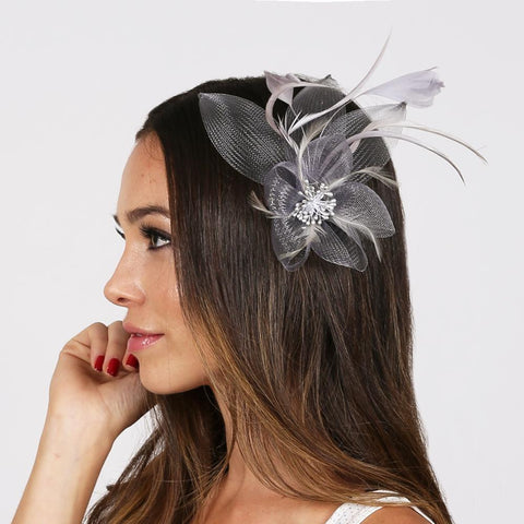 Grey Fashionable Facsinator With Flower And Feathers ,FEATHERED MESH FLOWER W/LEAF - R&M BOUTIQUE