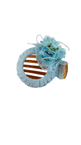 Lace Flower Barrette Blue Hairpin Clamp Hair Claw Clip for Ladies - R&M BOUTIQUE
