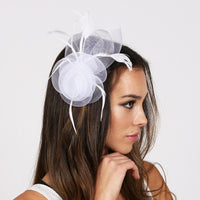 white  Fashionable Fascinator With Flower And Feathers ,FEATHERED MESH FLOWER W/LEAF - R&M BOUTIQUE