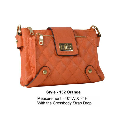 Soft Vegan Leather PVC Orange Cross Body Handbag - R&M BOUTIQUE