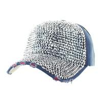 Full Stone Studded Front on Distressed Denim Fashion Baseball Cap - R&M BOUTIQUE