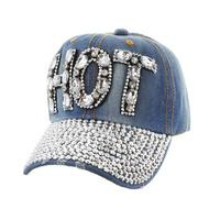 Full Stoned Bill on Distressed Denim Fashion Baseball Cap - R&M BOUTIQUE
