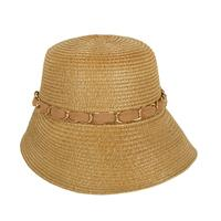 Paper Braid Gardening Hat w/Sheer Bow Chain Link - R&M BOUTIQUE