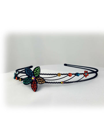 Elegant Flower Multi Color Stone Headband - R&M BOUTIQUE