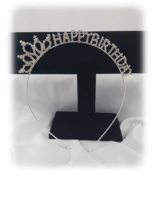Silver Crystal Rhinestone Happy Birthday Crown Headband Hoop - R&M BOUTIQUE