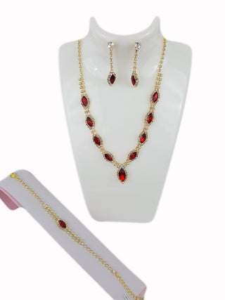Costume Jewelry Red Rhinestone Set - R&M BOUTIQUE