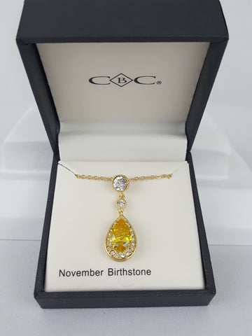 CBC November birthstone Drop Shaped Necklace - R&M BOUTIQUE