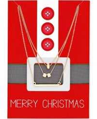 Gold Tone Pendant Necklace Gift Set Happy Holidays Merry Christmas - R&M BOUTIQUE