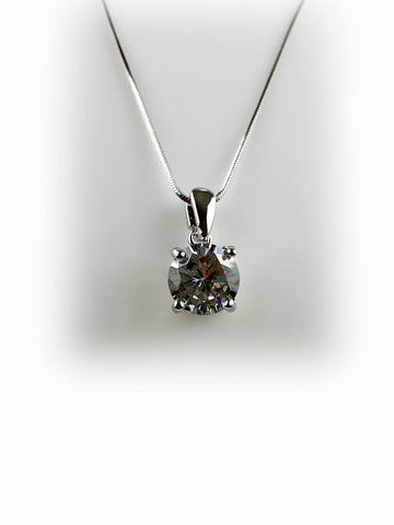 Rhodium Plated Tarnish Resistant Clear Crystal Charm Necklace - R&M BOUTIQUE