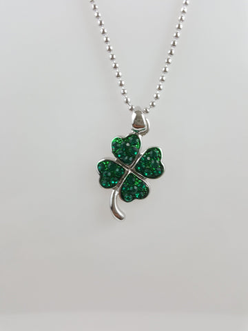 Rhodium Plated Tarnish Resistant Four Leaf Clover Necklace - R&M BOUTIQUE
